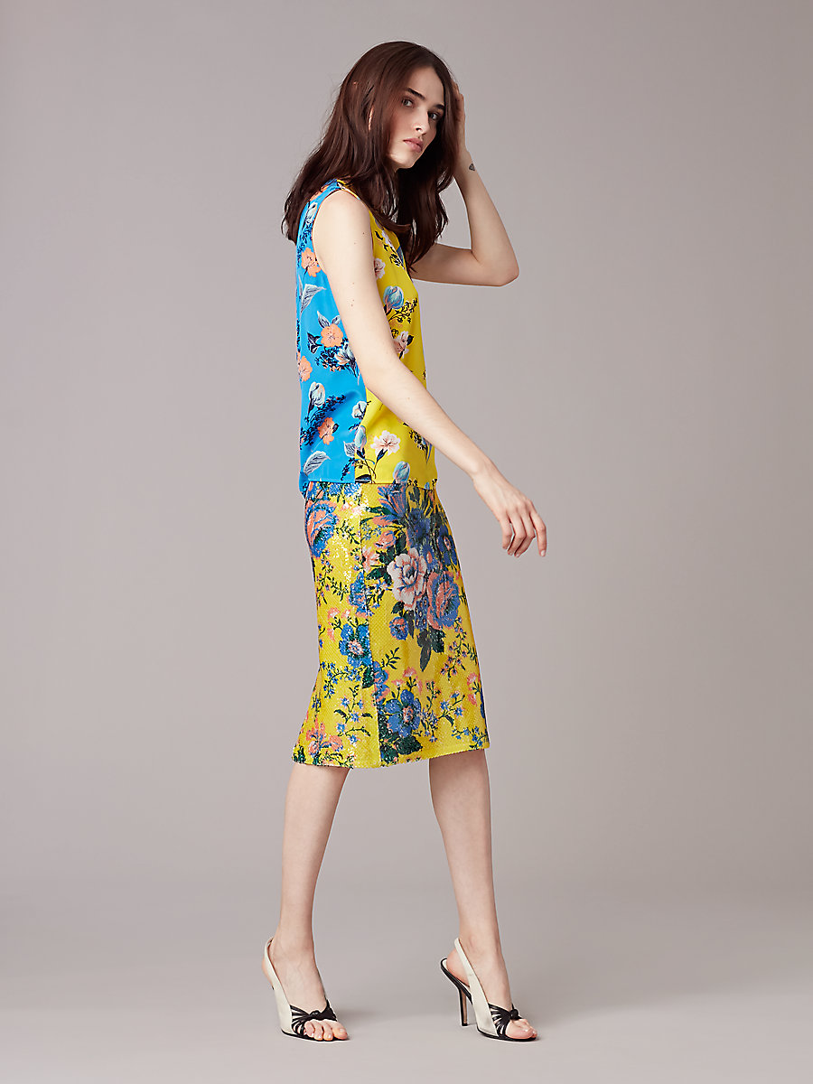 Sleeveless Shell in Silese Acid Yellow by DVF