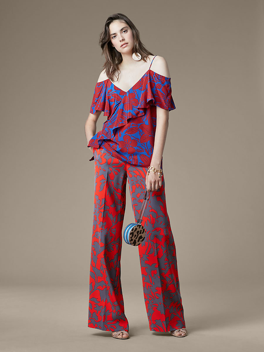 V-Neck Ruffle Front Blouse in Leclaire Rust by DVF