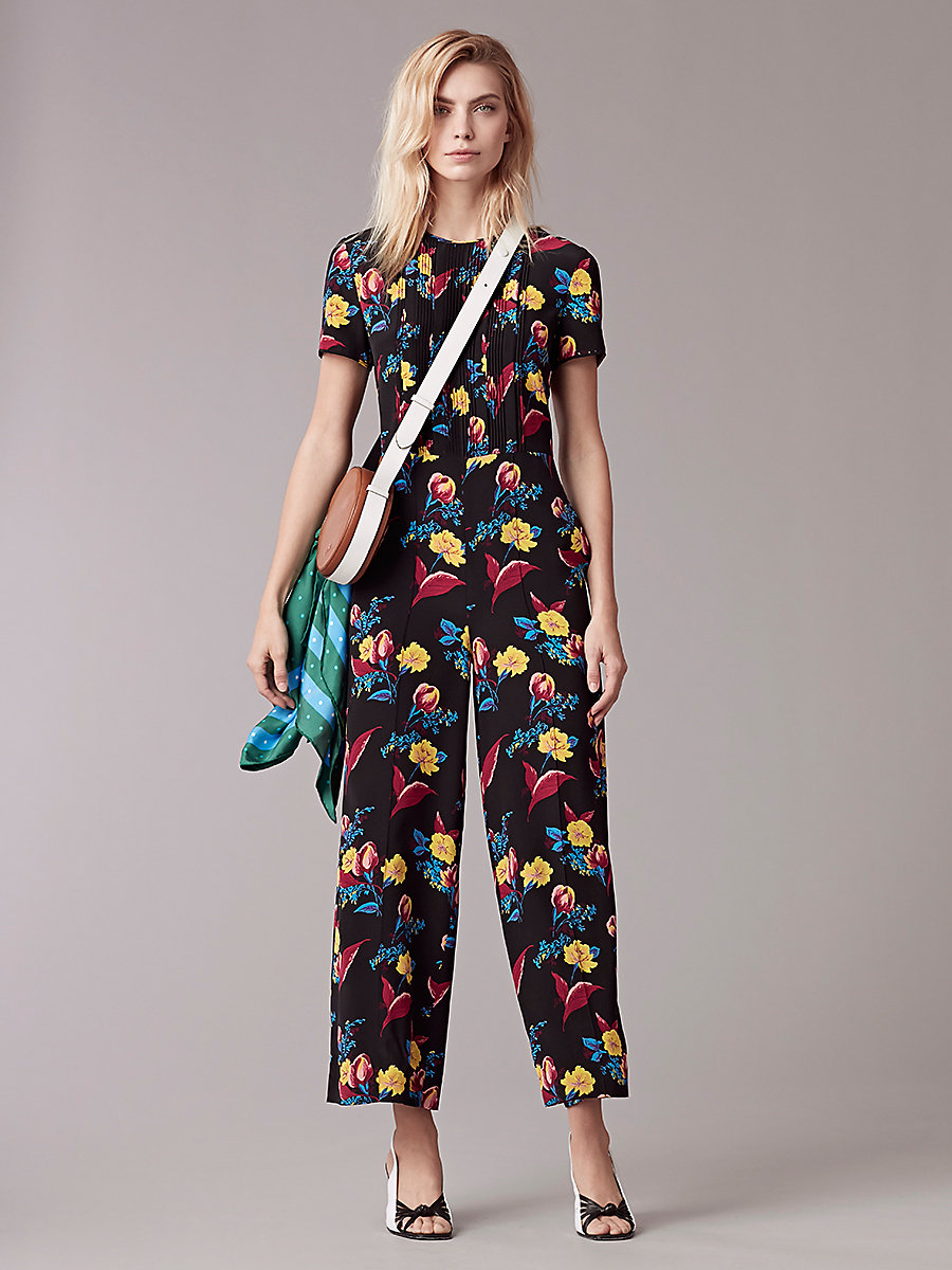 Cropped Flare Jumpsuit in Silese Black by DVF