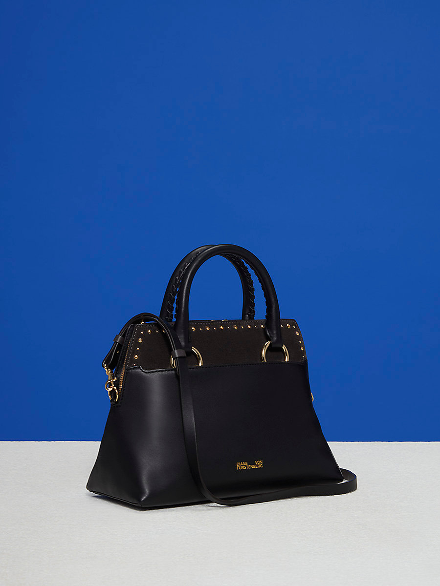 Small Front Flap Satchel in Black/ Ash by DVF