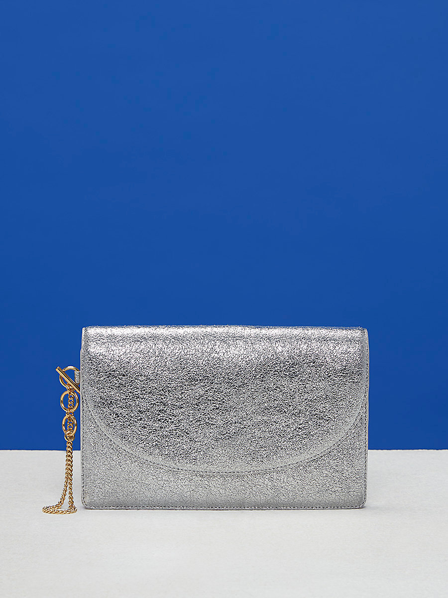 Metallic Saddle Evening Clutch in Silver by DVF