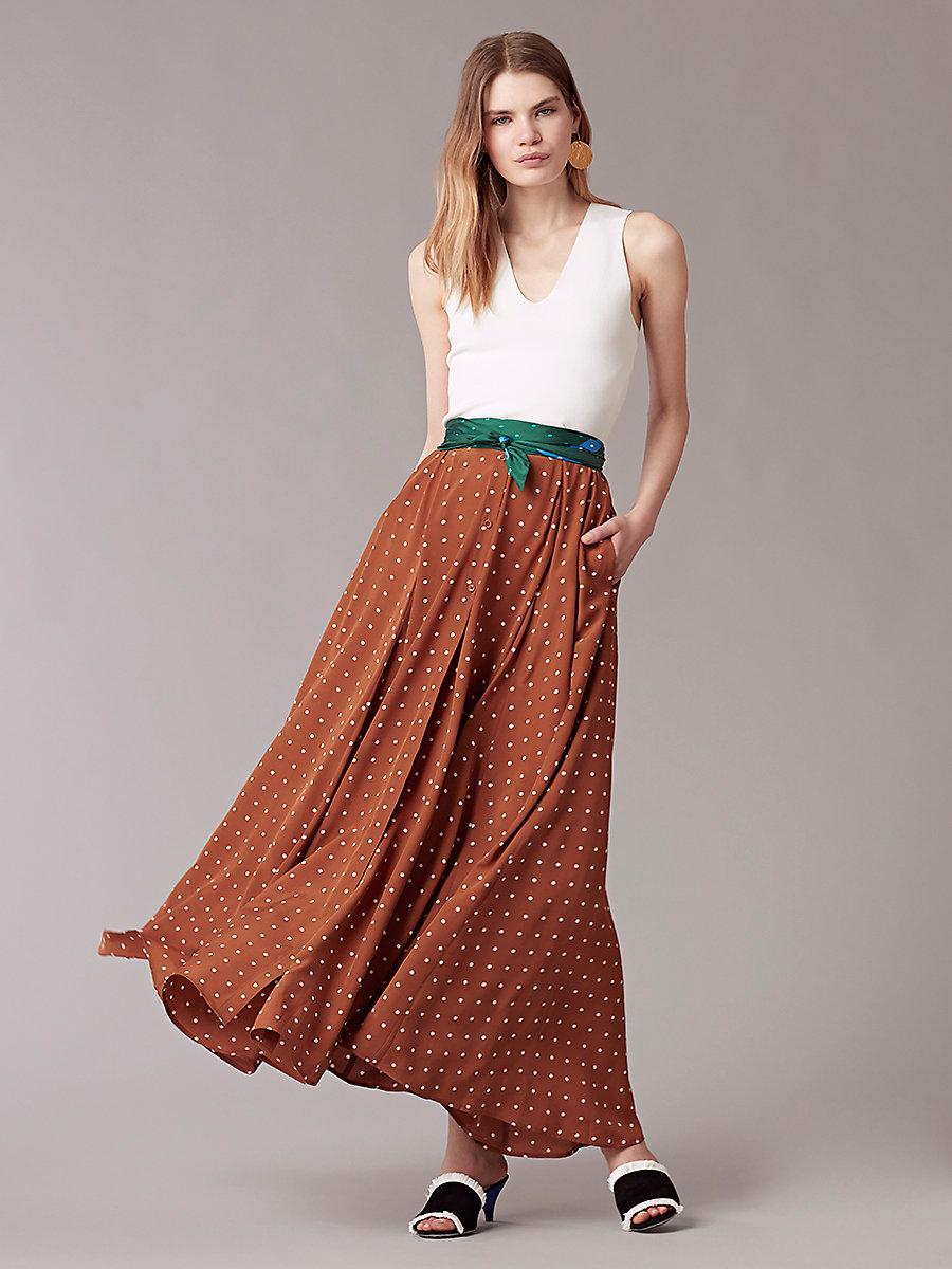Flare Maxi Skirt in Arbor Dot Kola by DVF
