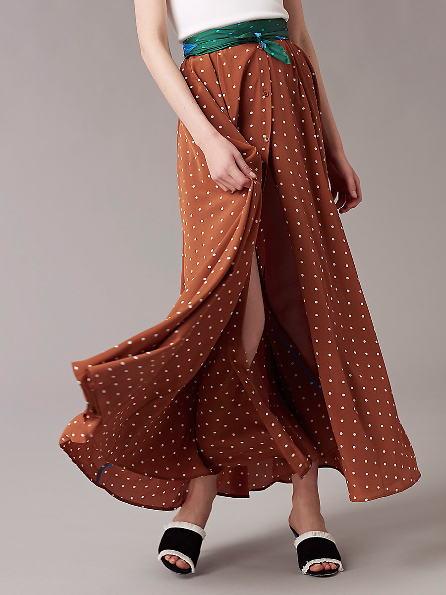 Flare Maxi Skirt in Arbor Dot Kola by DVF
