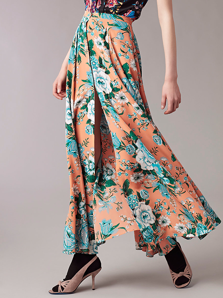 Flare Maxi Skirt in Bournier Peach by DVF