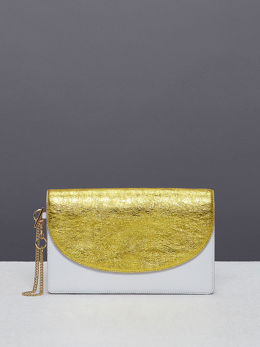Metallic Saddle Evening Clutch in Orchid/ Ivory by DVF