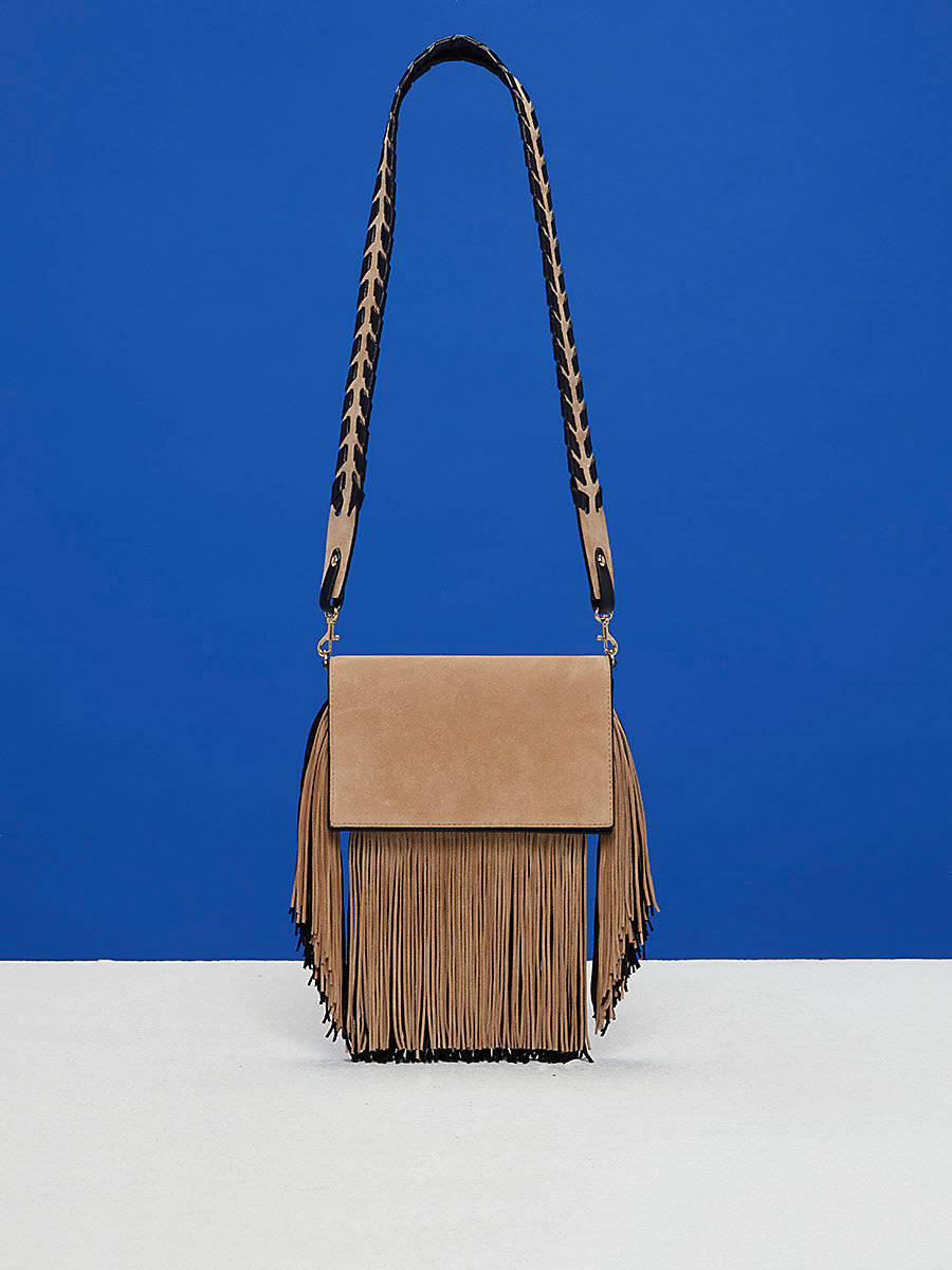 Mini Fringe Soirée Crossbody Bag in Sesame/black by DVF