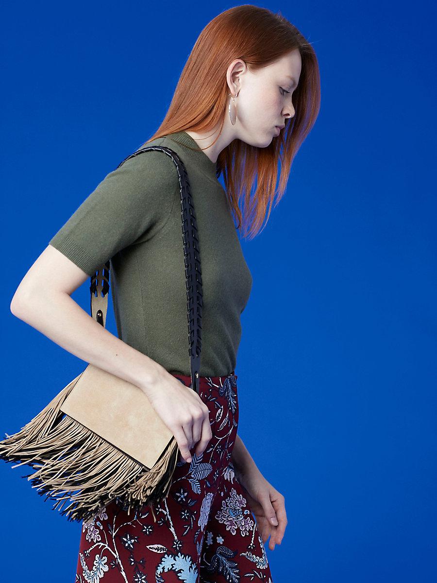 Fringe Soirée Crossbody Bag in Sesame/ Black by DVF