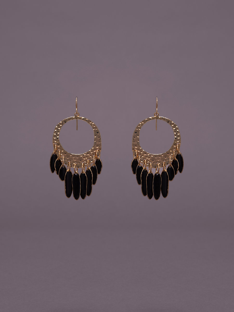 Tassel Fringed Hoops in Gold/ Black Enamel by DVF