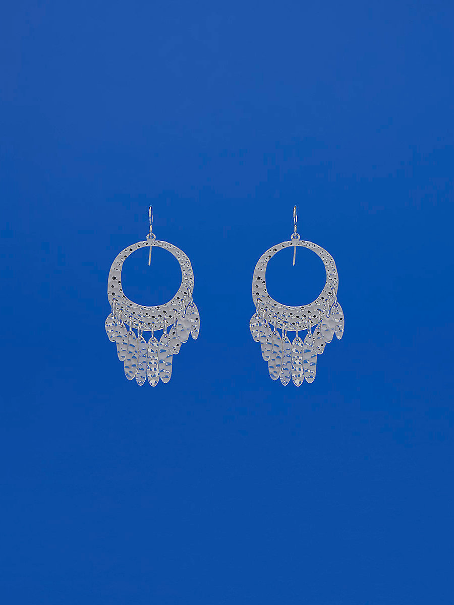 Tassel Fringed Earrings in Silver by DVF