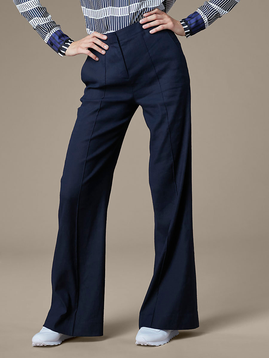 Pleat Front Flare Pant in Alexander Navy by DVF