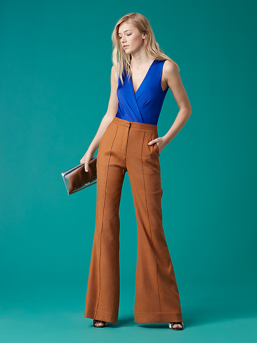 Pleat Front Flare Pant in Kola by DVF