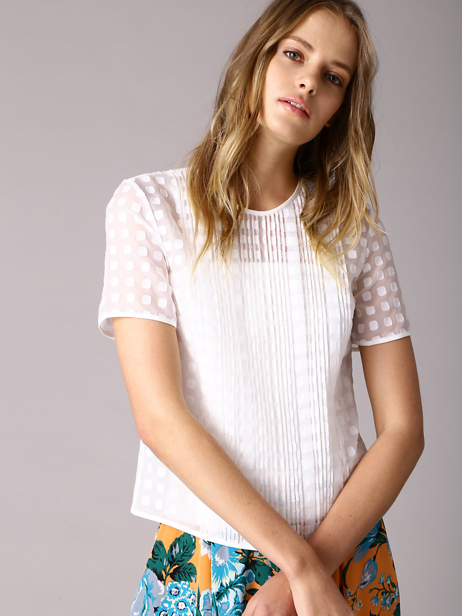 Tailored T-shirt in White/white/white by DVF