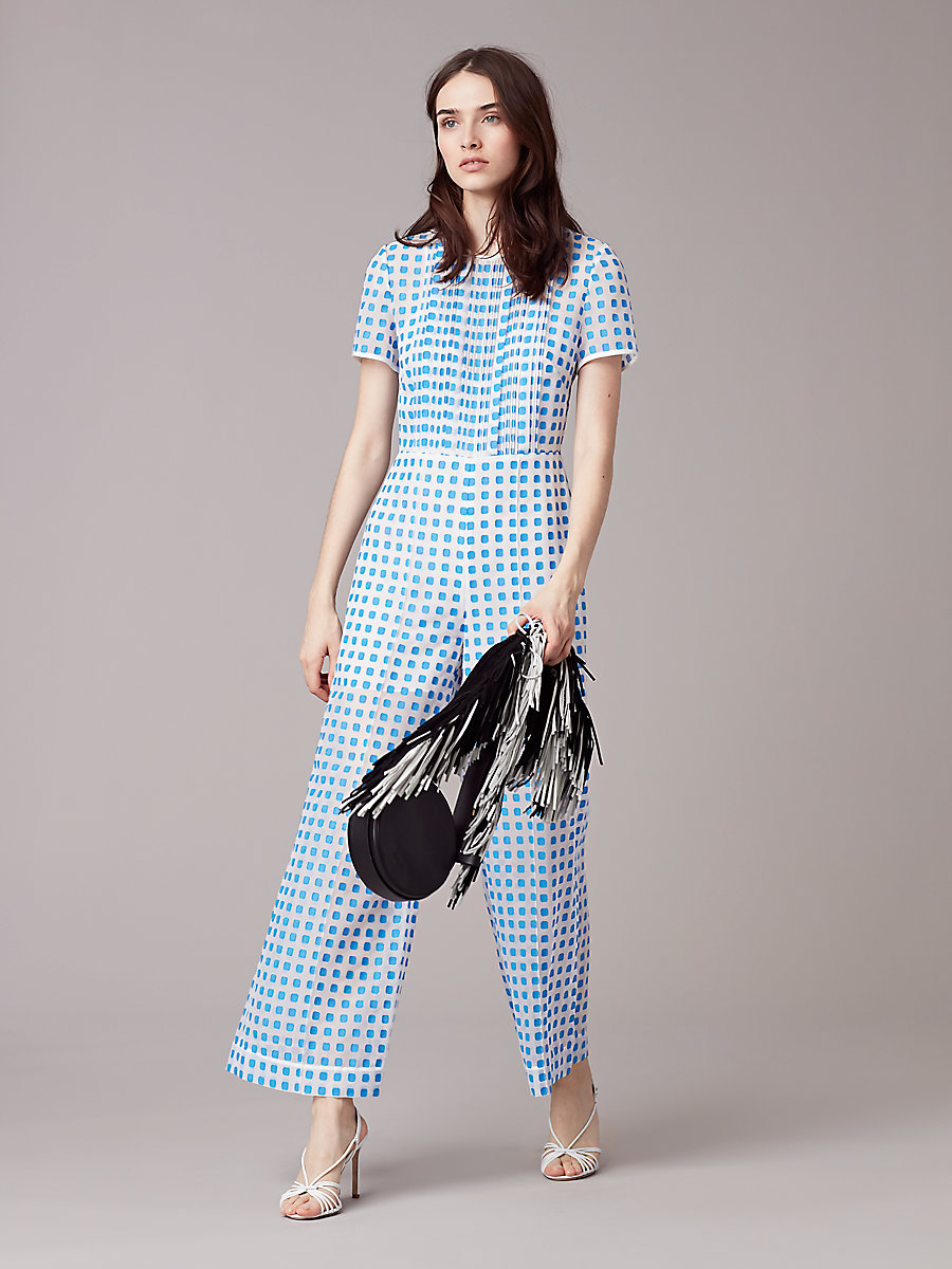 Cropped Flared Jumpsuit in Tile Blue/ White by DVF