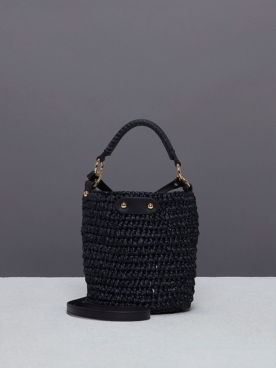Mini Raffia Bucket Bag in Black by DVF