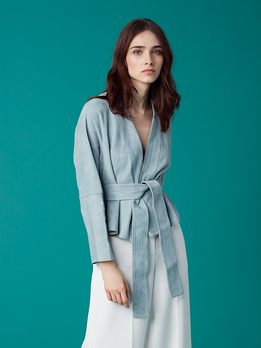 Short Suede Belted Jacket in Slate Blue by DVF