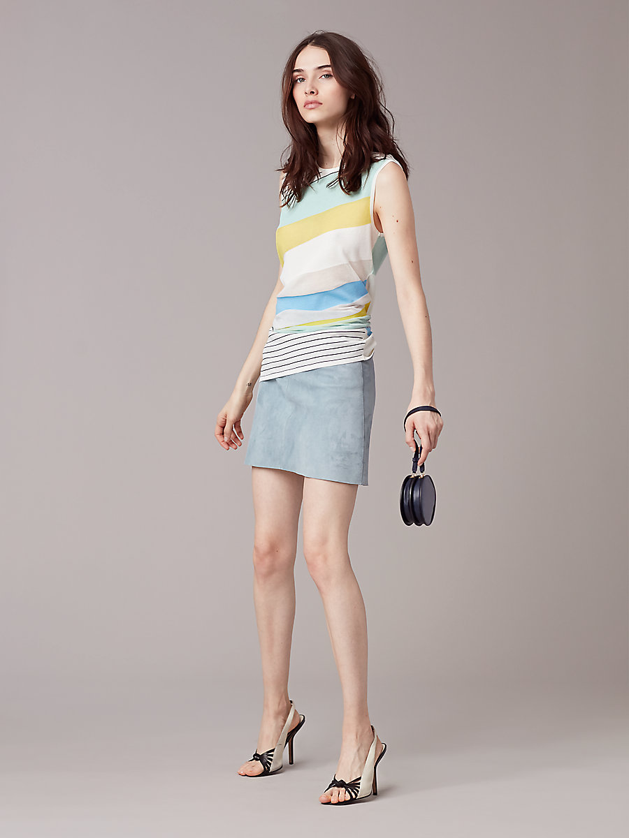 Suede Miniskirt in Slate Blue by DVF