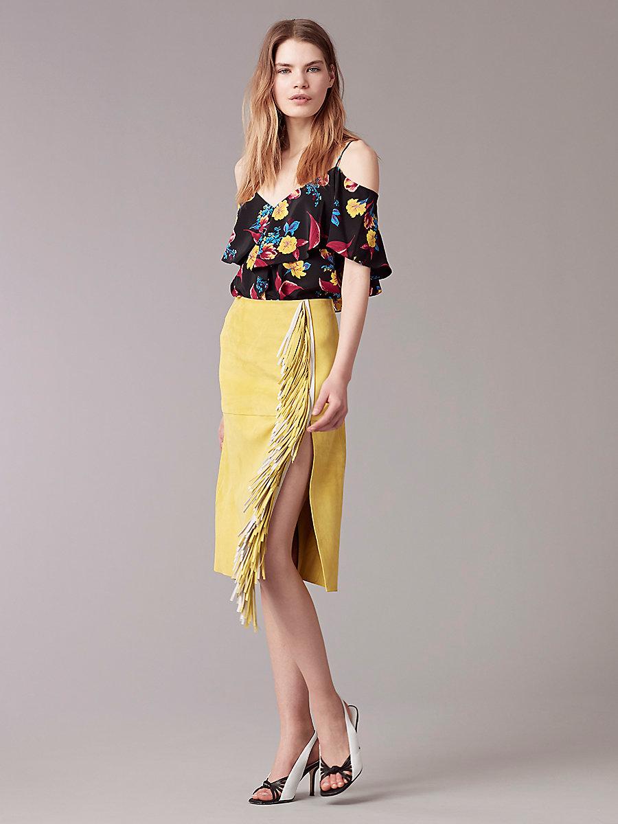 Side Slit Fringe Skirt in Acid Yellow by DVF