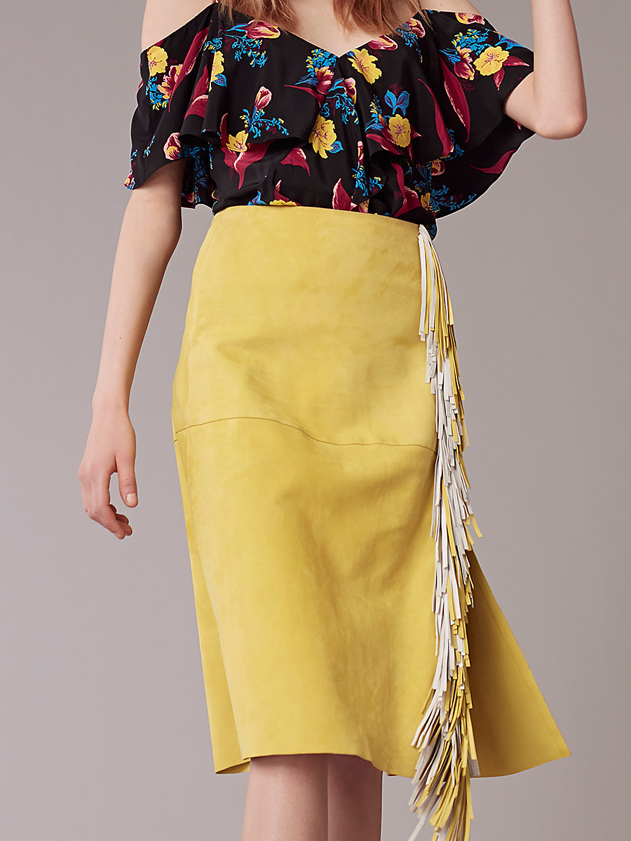 Side Slit Fringe Skirt in Acid Yellow by DVF
