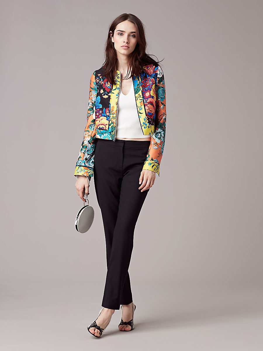 Fitted Paneled Jacket in Bournier Black Combo by DVF