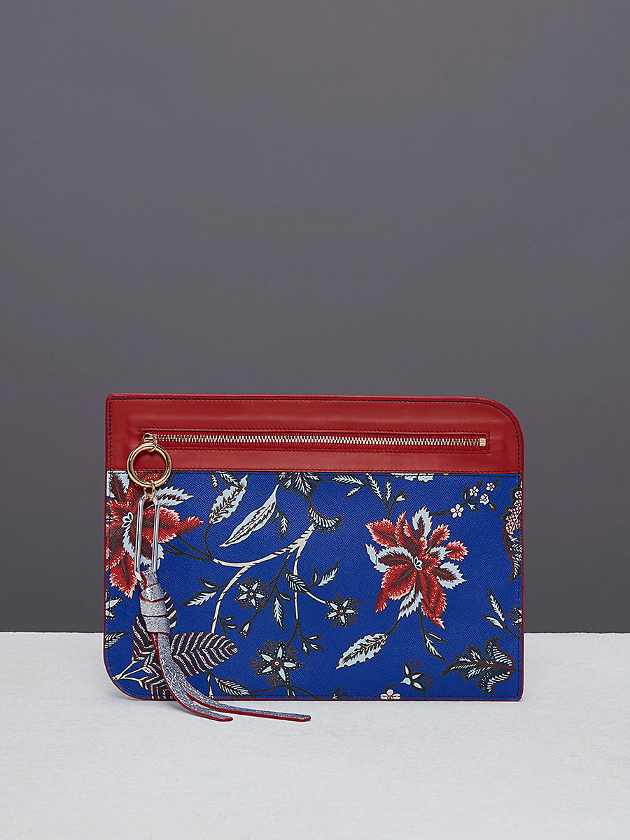 Large Zip Front Pouch in Canton Electric Blue by DVF