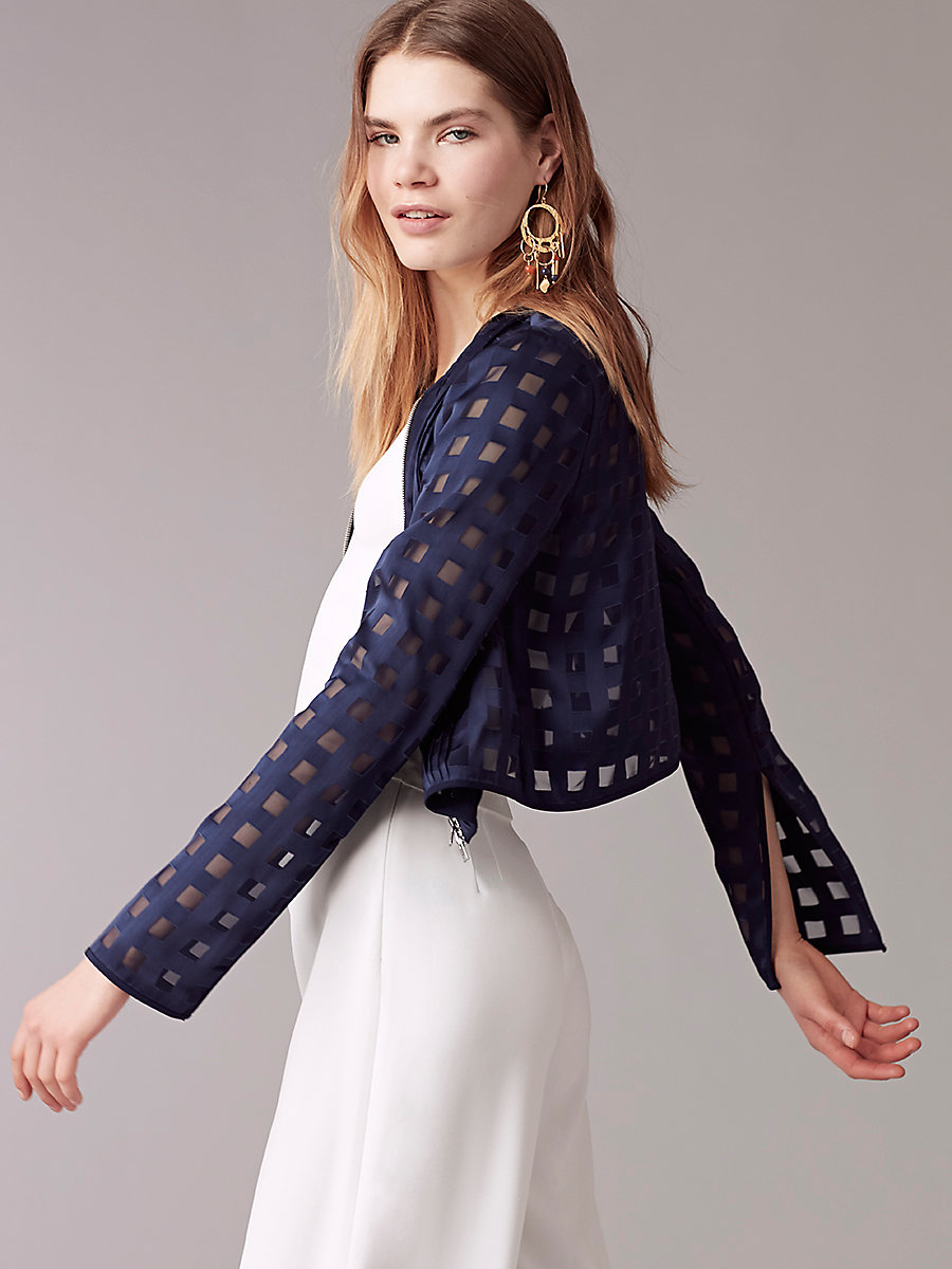 Cropped Fitted Jacket in Midnight/midnight by DVF