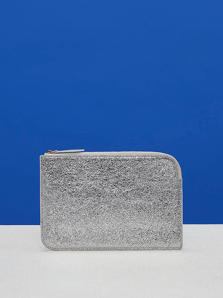 Metallic Medium Zip Pouch in Silver by DVF
