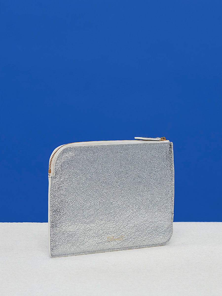 Metallic Medium Zip Pouch in Silver by DVF
