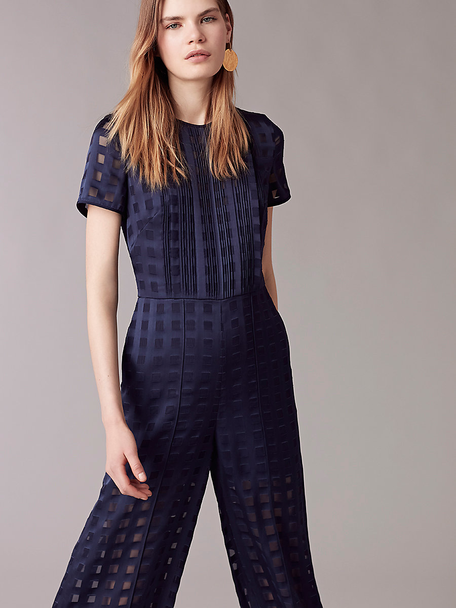 Cropped Flare Jumpsuit in Midnight/midnight by DVF