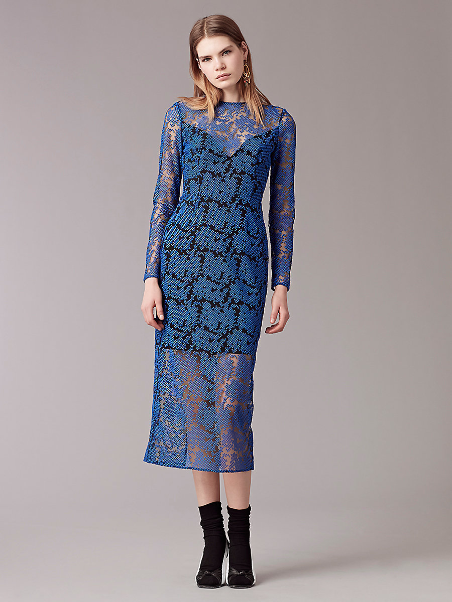 Long Sleeve Tailored Midi Dress in Klein Blue/ Black by DVF