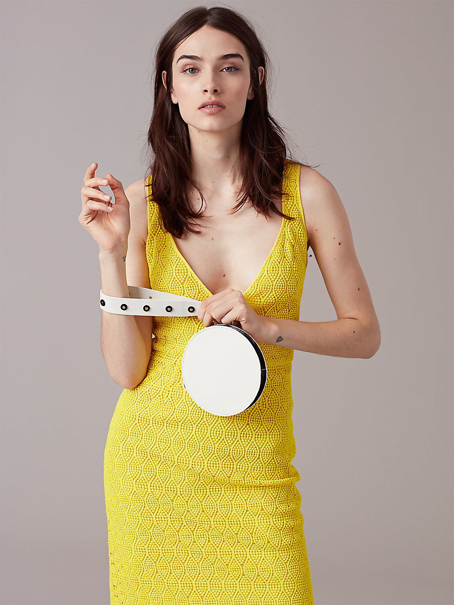 V-Neck Tailored Midi Dress in Acid Yellow by DVF