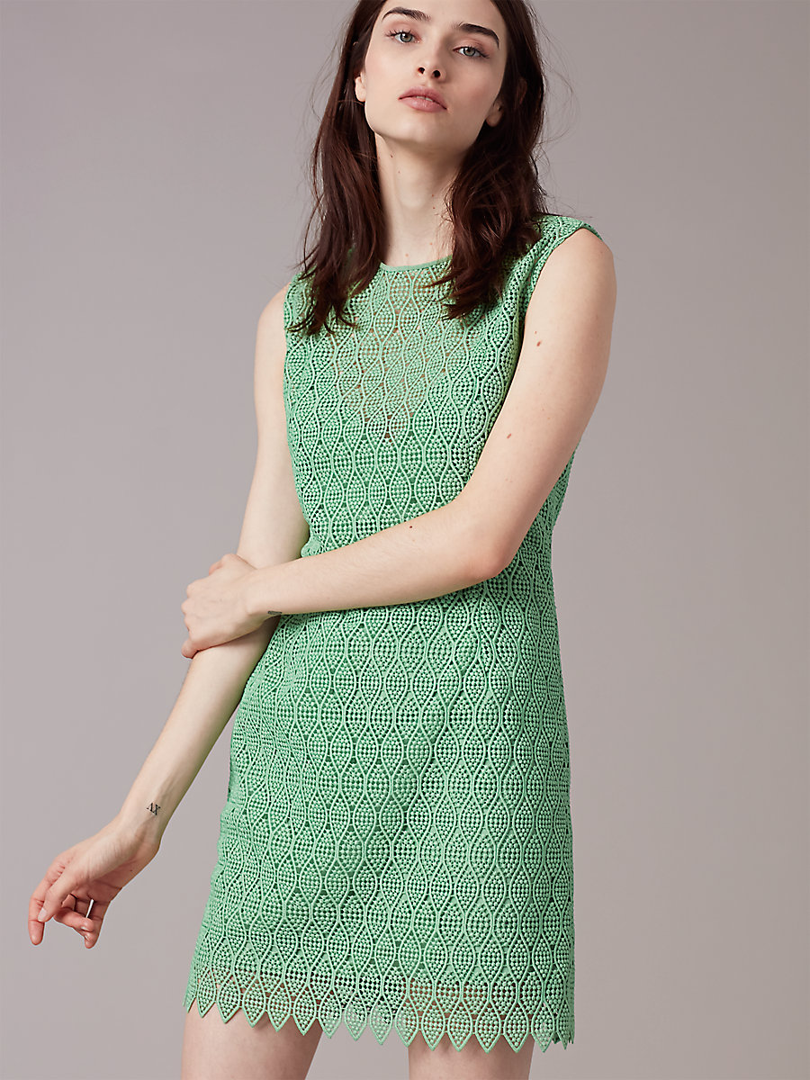 Tailored Overlay Mini Dress in Fern by DVF