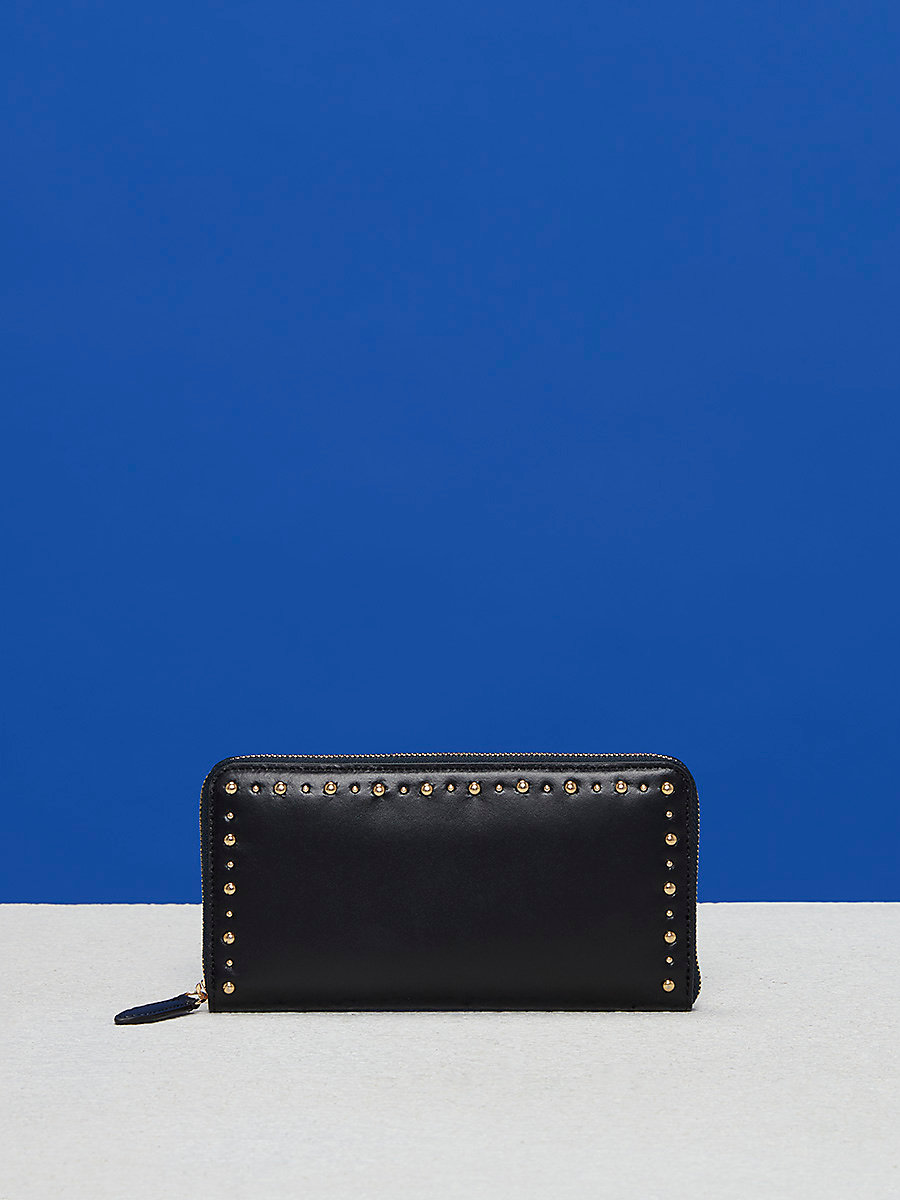 Zip-Around Studded Wallet in Black by DVF