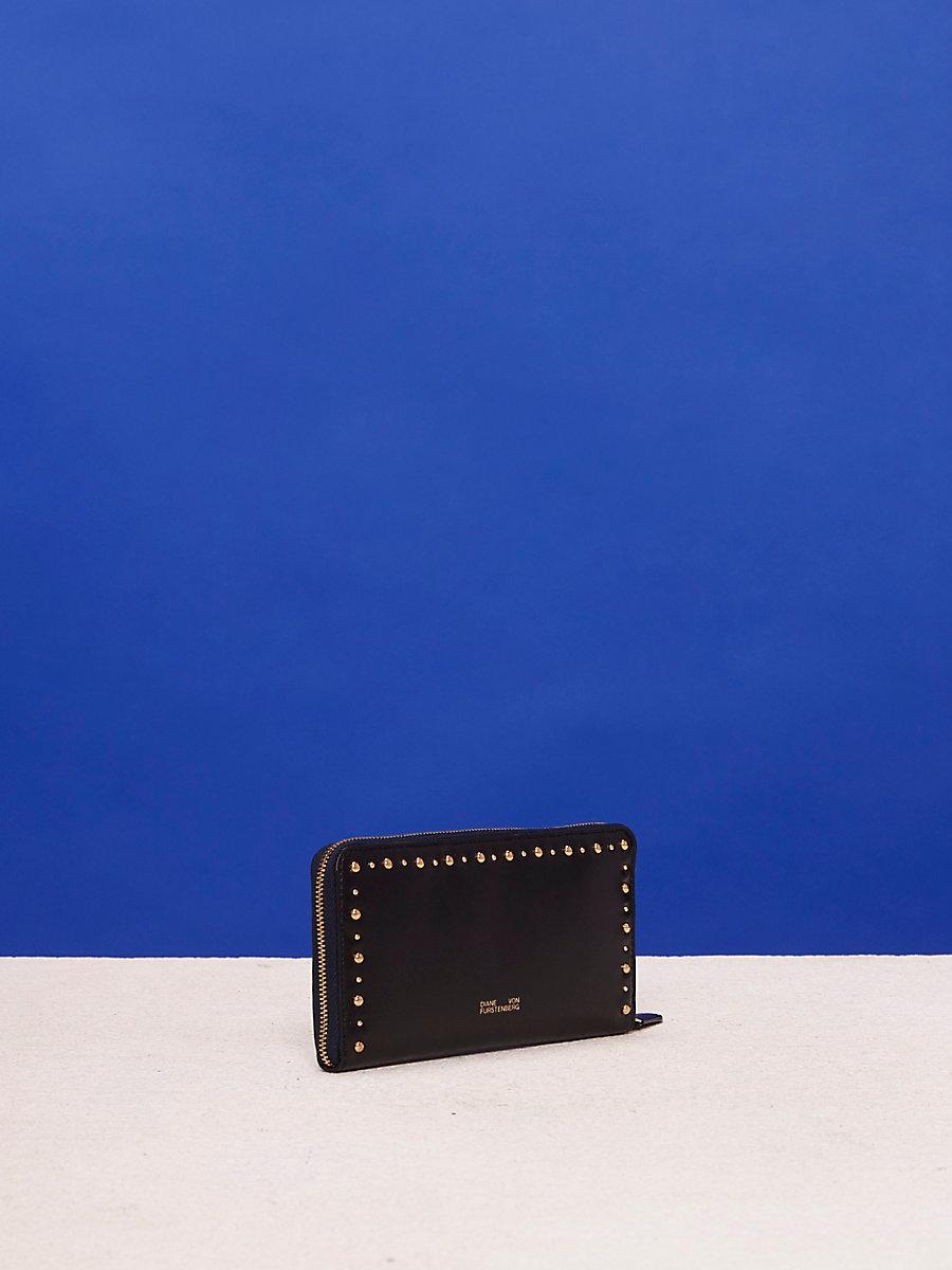 Zip-Around Studded Wallet in Black by DVF