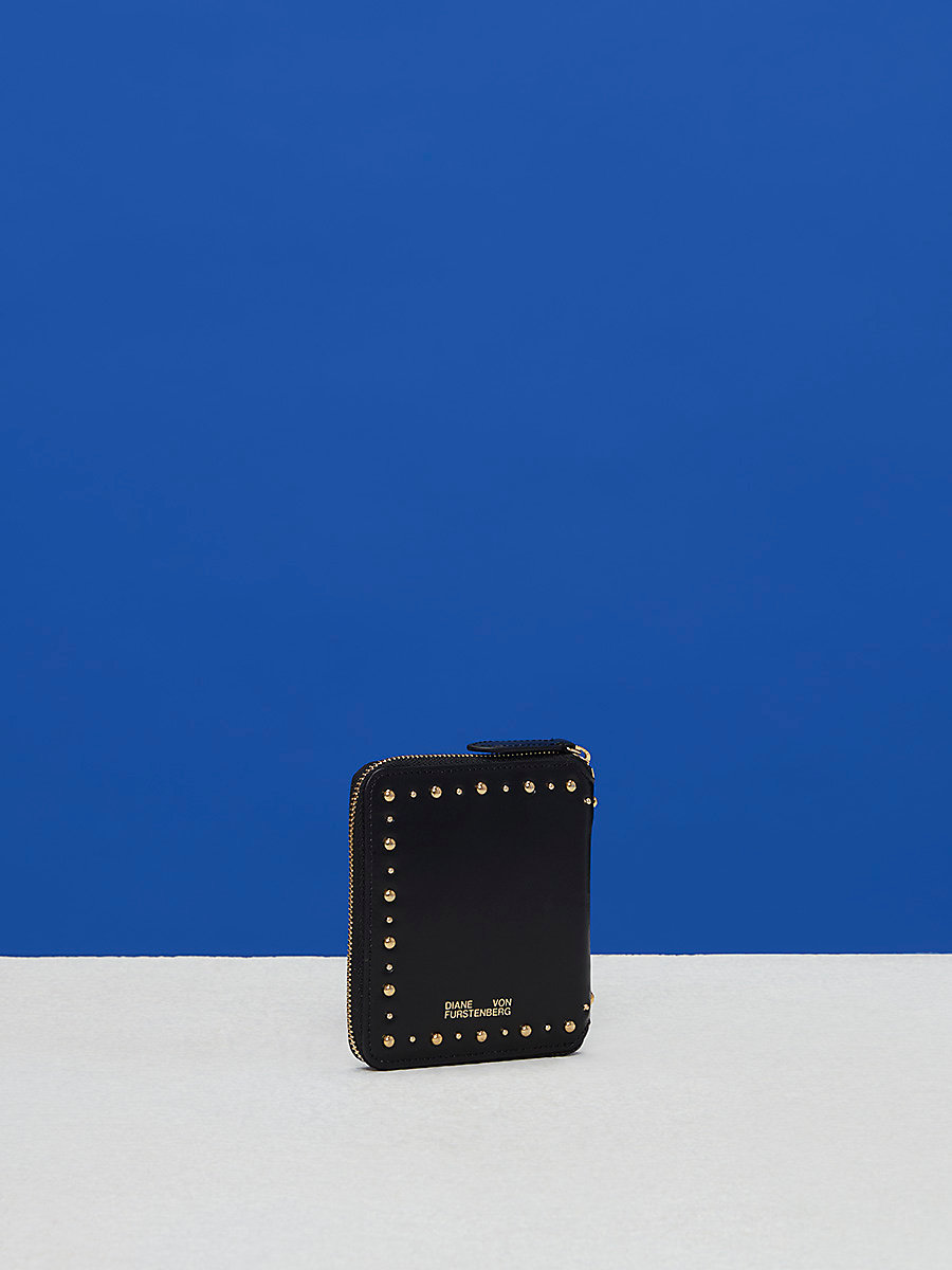 French Zip-Around Studded Wallet in Black by DVF