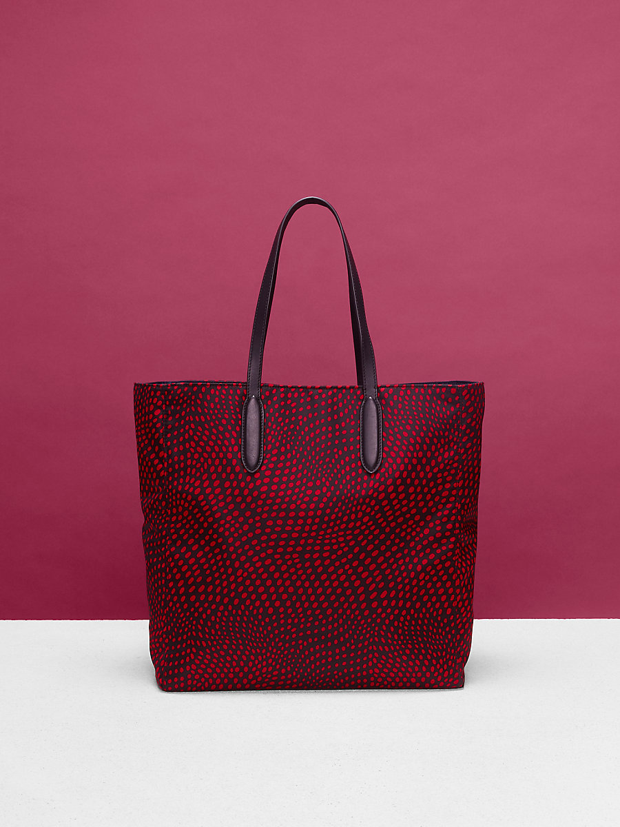 Nylon Tote in Easton Dot Black/ Lipstick by DVF