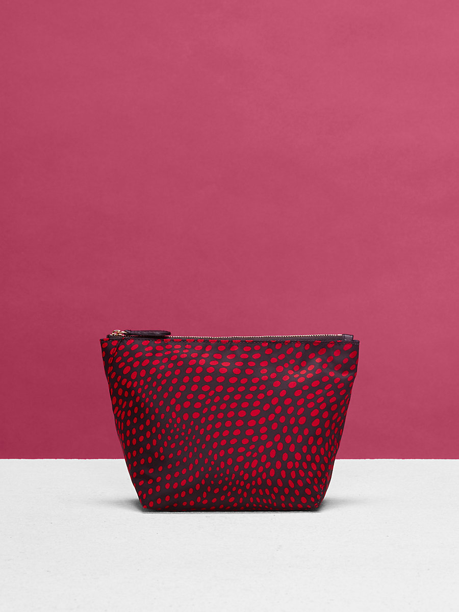 Large Nylon Zip Pouch in Easton Dot Black/ Lipstick by DVF