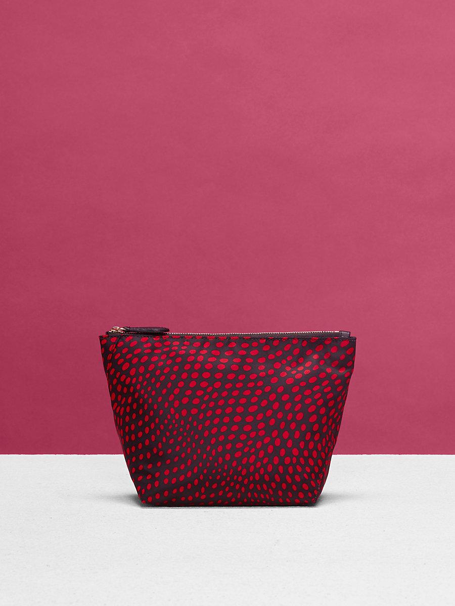 Large Nylon Zip Pouch in Easton Dot Black/ Lipstick by DVF