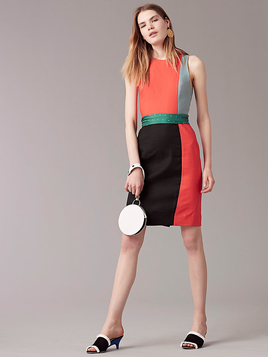 Sleeveless Paneled Tailored Dress in Bold Red/black/slate Blue by DVF