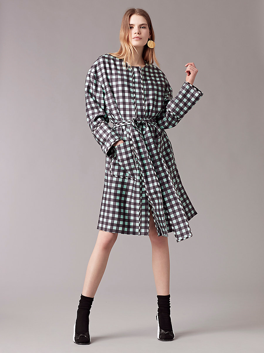 Flare Belted Coat in Cossier Lrg Aqua/cossier Sm Aq by DVF