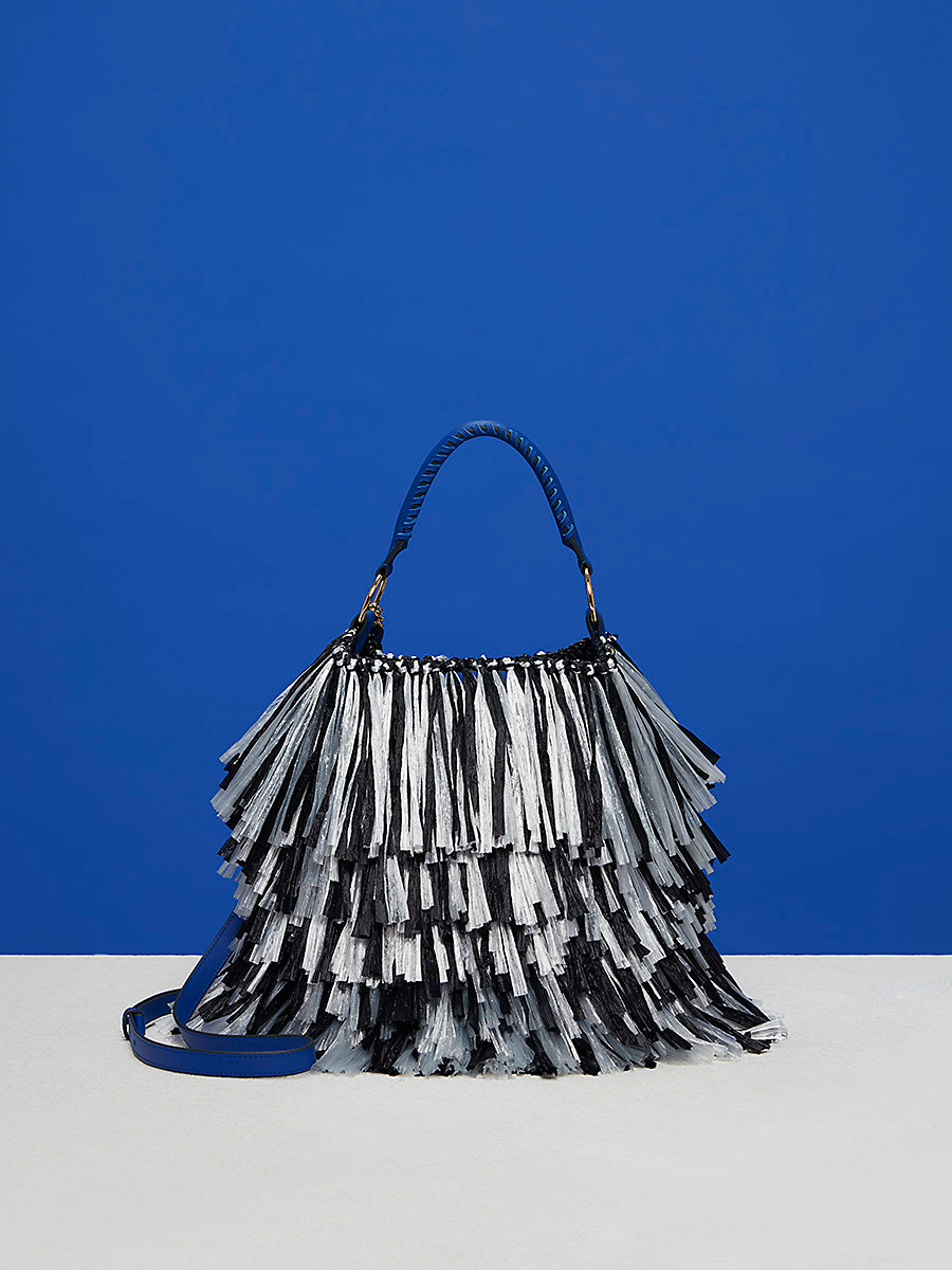 Large Raffia Fringe Bucket Bag in Black/ White by DVF