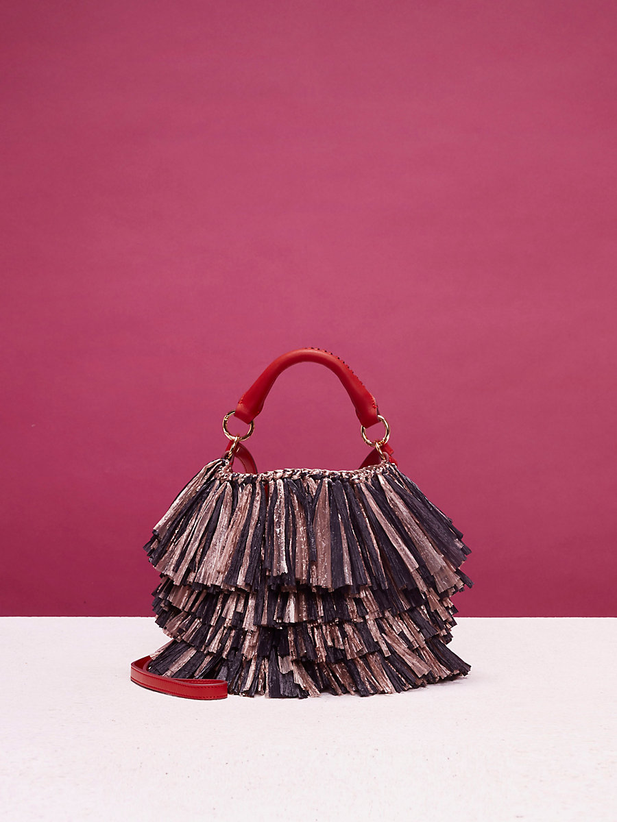 Raffia Fringe Bucket Bag in Clay/ Black by DVF