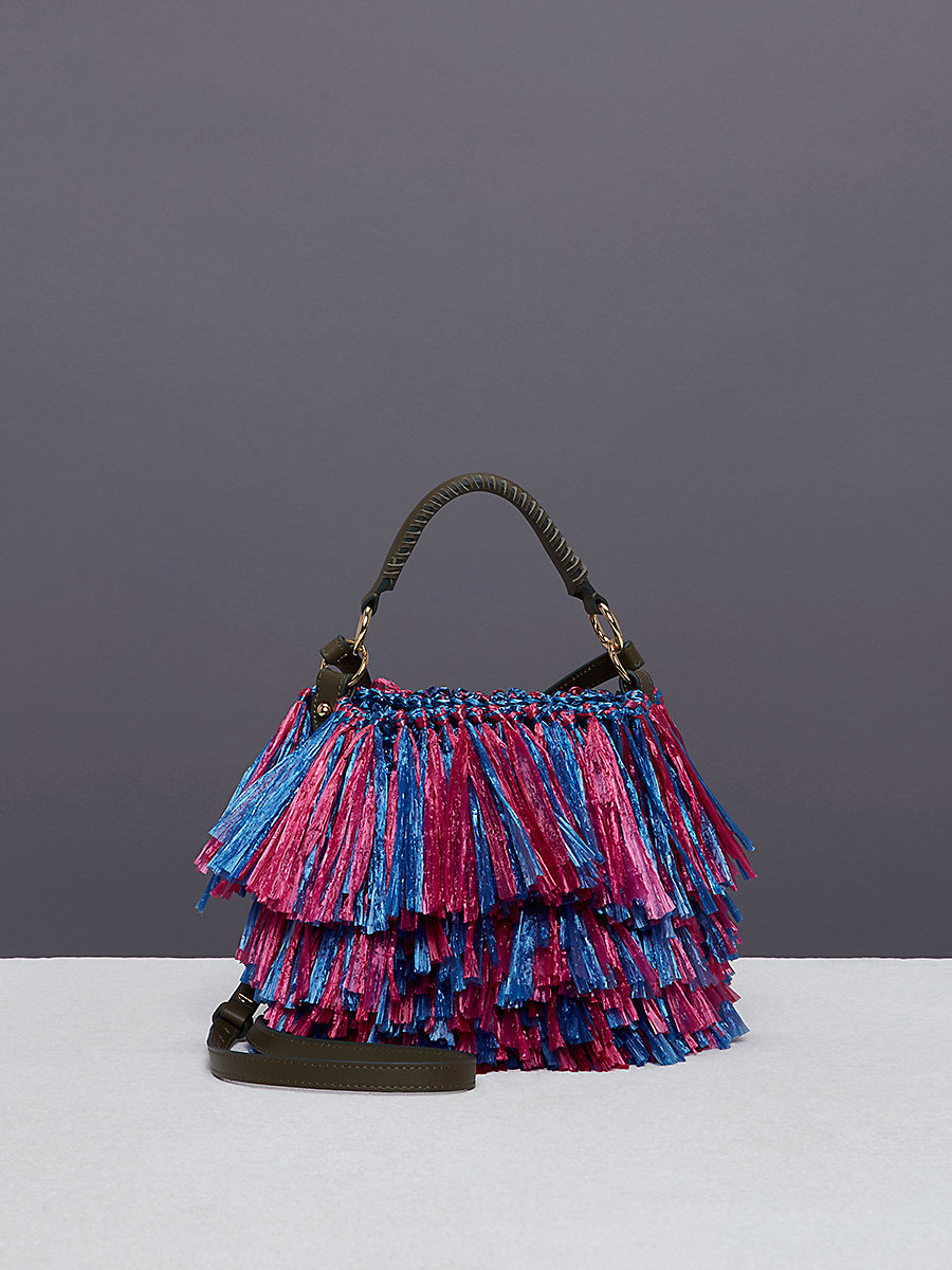 Raffia Fringe Bucket Bag in Hydrangea/hot Pink by DVF