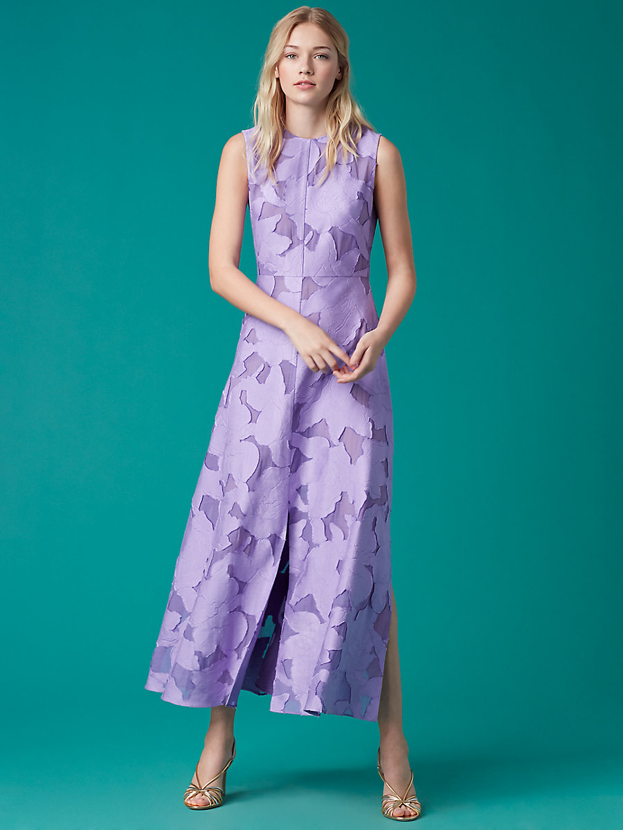 High Neck Flare Dress in Violet by DVF