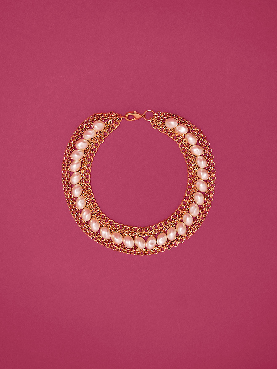 Bangle Choker in Gold/ White by DVF