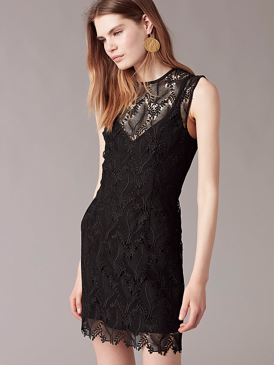 Sleeveless Tailored Mini Dress in Black by DVF