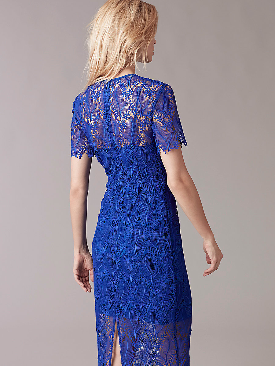 Short-Sleeve Tailored Midi Dress in Klein Blue by DVF