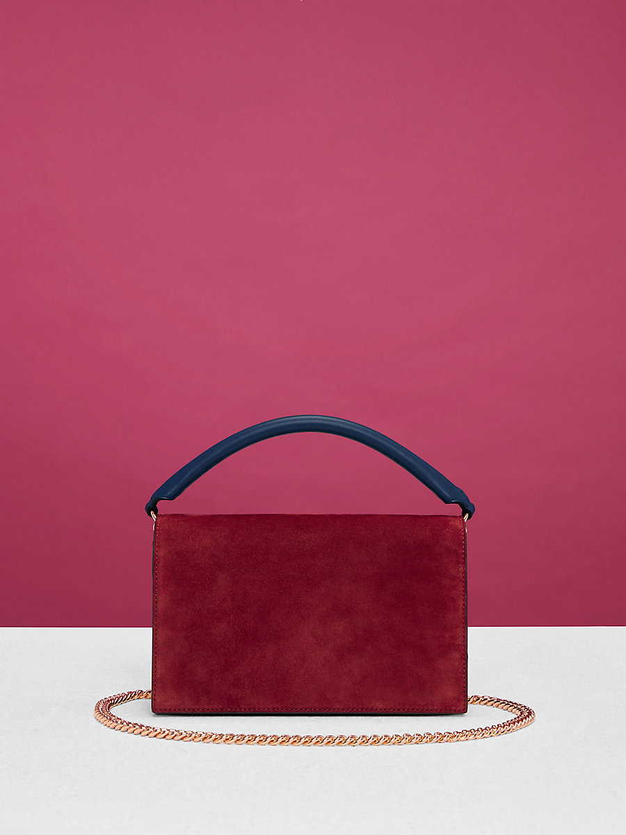 Bonne Soirée Suede Bag in Deep Fig/ Navy/ Black by DVF