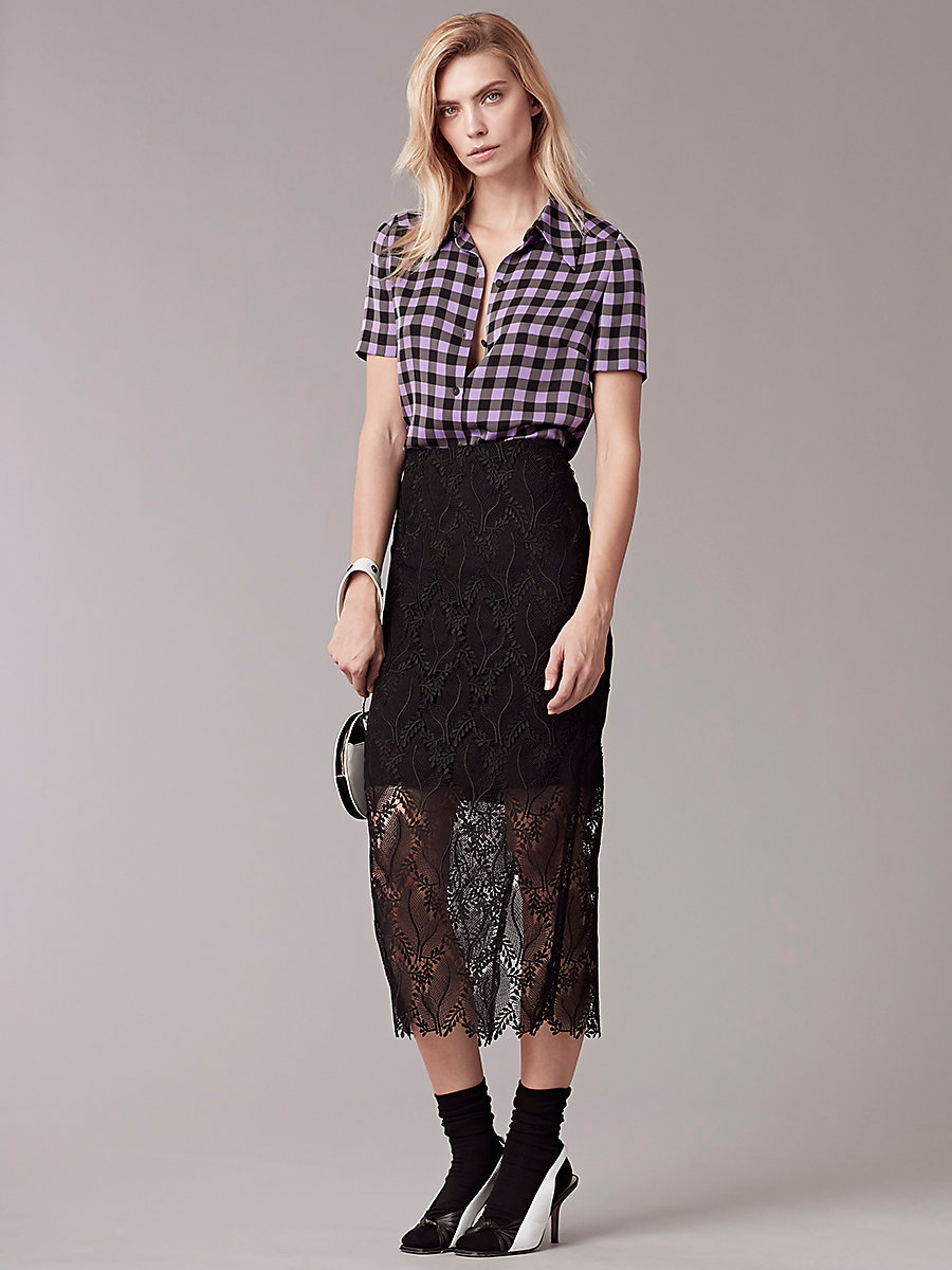 【先行予約 7月下旬お届け予定】Overlay Tailored Pencil Skirt in Black by DVF