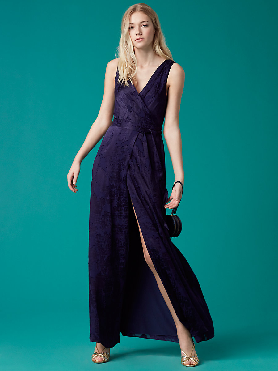 Sleeveless Floor-Length Wrap Dress in Midnight by DVF