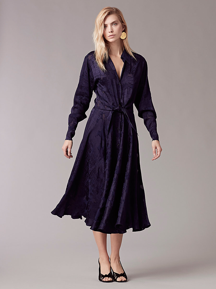 Long-Sleeve Collared Front Tie Dress in Midnight by DVF